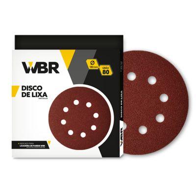 Disco de Lixa Velcro G80 8 Furos 180mm 10 Peças