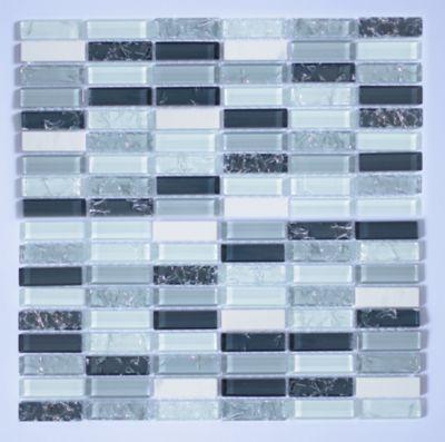 Pastilha de Vidro Pedra Lantic Gris 31x31cm Preto e Bege