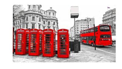 Quadro Impressão Digital Londres Ônibus 55x110cm Vermelho e Cinza
