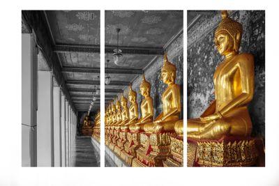 Quadro Trio Impressão Digital Buda 100x150cm Amarelo