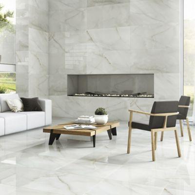Porcelanato Polido Onix Cristal 59x118,2cm Caixa 1,39m² Marmorizado Branco