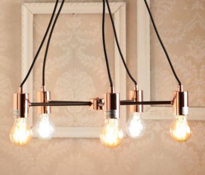 Luminária Pendente de Metal Almere 5 Lâmpadas E27 40W Cobre