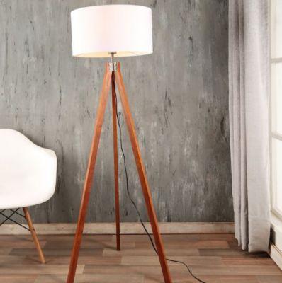 Luminária de Piso Lisse 1 Lâmpada E27 40W Branco e Madeira