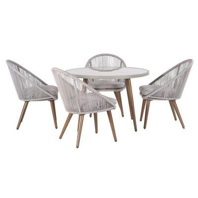 Conjunto Mesa e Cadeiras Praga Bege