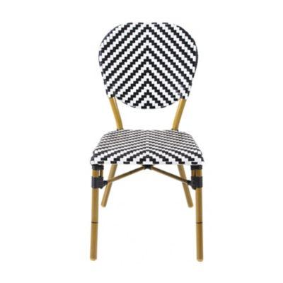 Cadeira de Alumínio com Estrutura de Bambu Preto e Branco