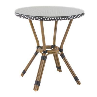 Mesa de Alumínio com Estrutura de Bambu e Tampo Preto e Branco