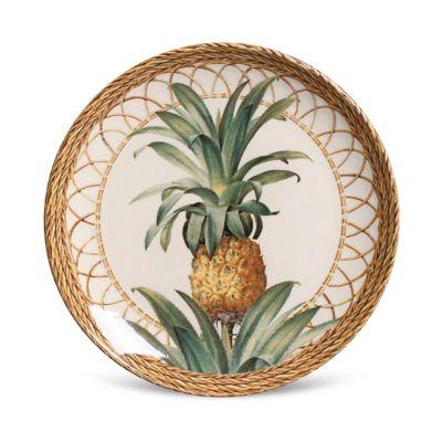 Prato Sobremesa Coup Pineapple Natural 20x2,5cm Colorido