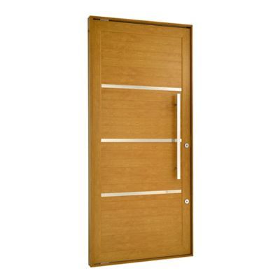 Porta Pivotante e Friso Alumínio Carvalho Esquerda 220x120x8,6cm Topsul