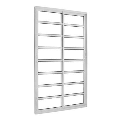 Porta de Correr com Travessa Alumínio Branco 2 Folhas Móveis 210x120x8,6cm Topsul