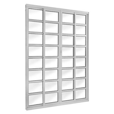 Porta de Correr de Vidro 4 Folhas com Travessa 210x150cm Branco Topsul