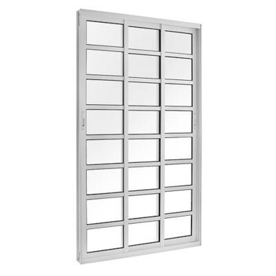 Porta de Correr de Vidro 3 Folhas Móveis com Travessa 210x120cm Branco Topsul