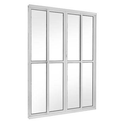 Porta de Correr Alumínio Branco 4 Folhas Central 210x200x12cm Topsul