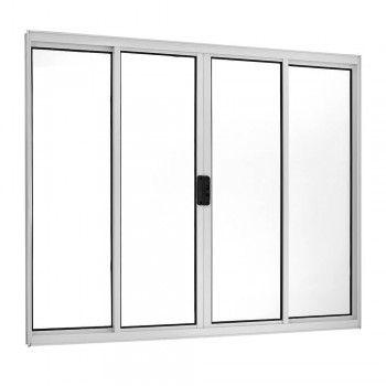 Janela de Correr Alumínio Branco 4 Folhas Central 100x100x5cm Ecosul