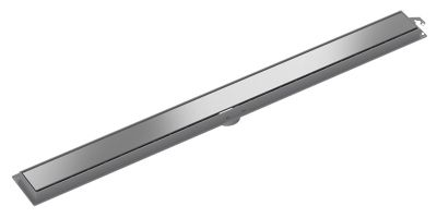 Ralo Linear Leve Lisa Saída Por Baixo No Meio Aço Inox 7X70Cm