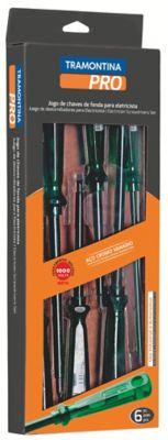 Kit Eletricista 6 Chaves Isoladas 1000V 3 Chaves De Fenda Ponta Chata: 3X75mm, 5X100mm e 6X150mm - 3 Chaves De Fenda Ponta Cruzada Phillips: 3X150mm, 5X100mm e 6X150mm 6 Peças