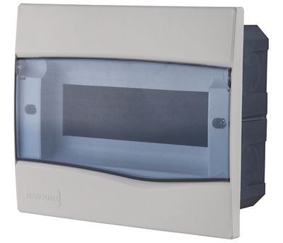 Quadro Embutir Branco Porta Transparente Para 9 Disjuntores