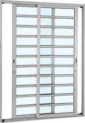 Porta de Correr com Travessa Alumínio Branco 2 Folhas 216x160x9,2cm Alumifort