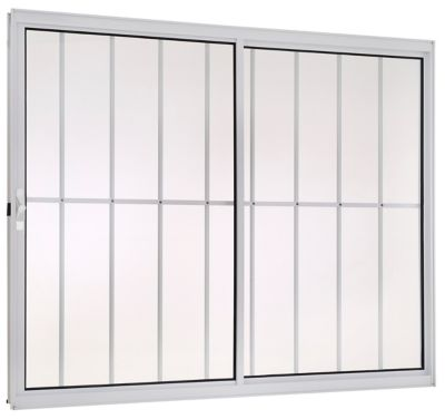 Janela de Correr Alumínio Branco 2 Folhas Com Grade Direita 100x150x8cm Fortsul