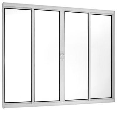 Janela de Correr Alumínio Branco 4 Folhas Central 100x200x5cm Fortsul