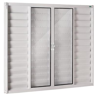Janela Veneziana Alumínio Branco 6 Folhas Central 100x200x8cm Fortsul
