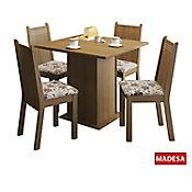 Conjunto de Jantar Kate 77x90x90cm Mesa e 4 Cadeiras MDP e MDF Rustic e Floral Hibiscos