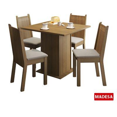 Conjunto de Jantar Kate 77x90x90cm Mesa e 4 Cadeiras MDP e MDF Rustic e Pérola