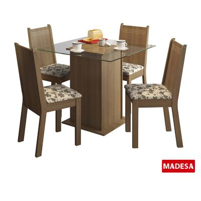 Conjunto de Jantar Magda 75x90x90cm Mesa e 4 Cadeiras MDP e MDF Rustic e Floral Bege Marrom