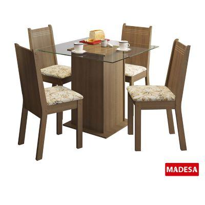 Conjunto de Jantar Magda 75x90x90cm Mesa e 4 Cadeiras MDP e MDF Rustic e Lírio Bege
