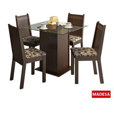 Conjunto de Jantar Magda 75x90x90cm Mesa e 4 Cadeiras MDP e MDF Tabaco e Floral Bege Marrom
