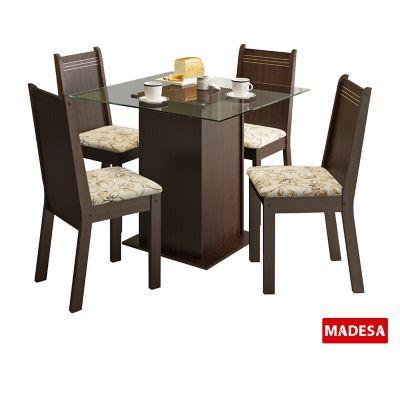 Conjunto de Jantar Magda 75x90x90cm Mesa e 4 Cadeiras MDP e MDF Tabaco e Lírio Bege