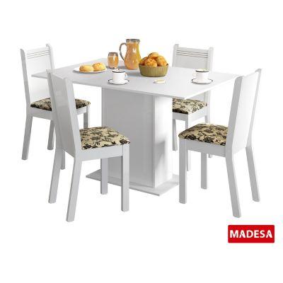 Conjunto de Jantar Lexy 78x104x68cm Mesa e 4 Cadeiras MDP e MDF Branco e Floral Bege Marrom
