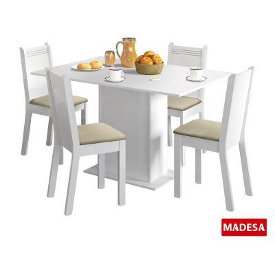 Conjunto de Jantar Lexy 78x104x68cm Mesa e 4 Cadeiras MDP e MDF Branco e Pérola