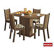 Conjunto de Jantar Lexy 78x104x68cm Mesa e 4 Cadeiras MDP e MDF Rustic e Floral Bege Marrom