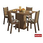 Conjunto de Jantar Lexy 78x104x68cm Mesa e 4 Cadeiras MDP e MDF Rustic e Floral Hibiscos