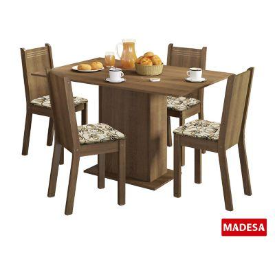 Conjunto de Jantar Lexy 78x104x68cm Mesa e 4 Cadeiras MDP e MDF Rustic e Lírio Bege