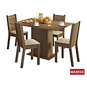 Conjunto de Jantar Lexy 78x104x68cm Mesa e 4 Cadeiras MDP e MDF Rustic e Pérola