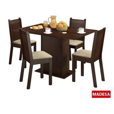 Conjunto de Jantar Lexy 78x104x68cm Mesa e 4 Cadeiras MDP e MDF Tabaco e Pérola