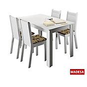 Conjunto de Jantar Rosie 76x136x74cm Mesa e 4 Cadeiras MDP e MDF Branco e Floral Bege Marrom