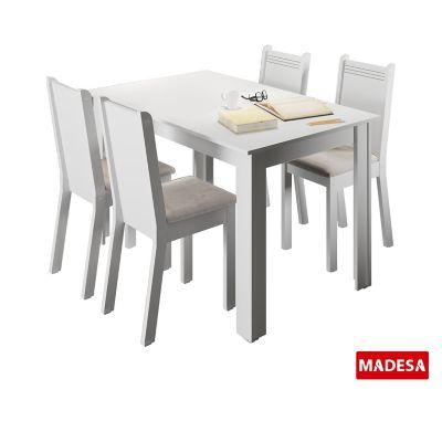 Conjunto de Jantar Rosie 76x136x74cm Mesa e 4 Cadeiras MDP e MDF Branco e Pérola