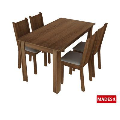Conjunto de Jantar Rosie 76x136x74cm Mesa e 4 Cadeiras MDP e MDF Rustic e Pérola