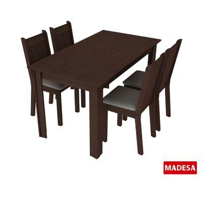 Conjunto de Jantar Rosie 76x136x74cm Mesa e 4 Cadeiras MDP e MDF Tabaco e Pérola
