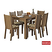 Conjunto de Jantar Maris 76x136x74cm Mesa e 6 Cadeiras MDP e MDF Rustic e Floral Bege Marrom
