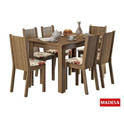 Conjunto de Jantar Maris 76x136x74cm Mesa e 6 Cadeiras MDP e MDF Rustic e Floral Hibiscos