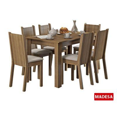 Conjunto de Jantar Maris 76x136x74cm Mesa e 6 Cadeiras MDP e MDF Rustic e Pérola