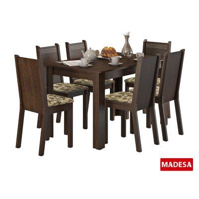 Conjunto de Jantar Maris 76x136x74cm Mesa e 6 Cadeiras MDP e MDF Tabaco e Floral Bege Marrom