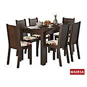 Conjunto de Jantar Maris 76x136x74cm Mesa e 6 Cadeiras MDP e MDF Tabaco e Floral Hibiscos