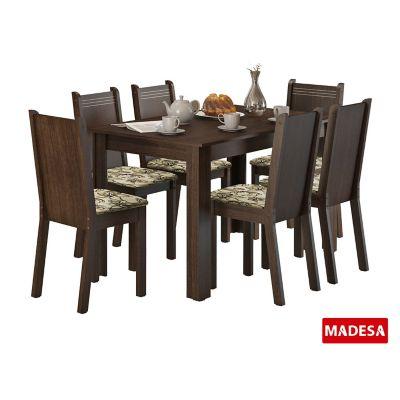 Conjunto de Jantar Maris 76x136x74cm Mesa e 6 Cadeiras MDP e MDF Tabaco e Lírio Bege