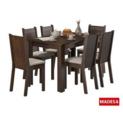 Conjunto de Jantar Maris 76x136x74cm Mesa e 6 Cadeiras MDP e MDF Tabaco e Pérola