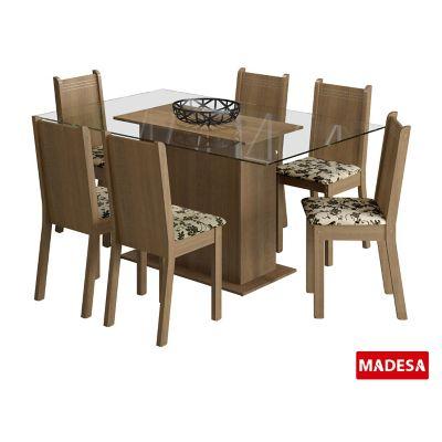 Conjunto de Jantar Molly 77x140x80cm Mesa e 6 Cadeiras MDP e MDF Rustic e Floral Bege Marrom