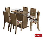Conjunto de Jantar Molly 77x140x80cm Mesa e 6 Cadeiras MDP e MDF Rustic e Floral Hibiscos